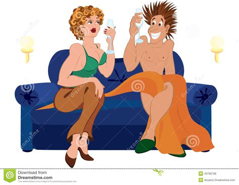cartoon sitting on couch cartoon couple drinking chagne cocktail sitting on blue
