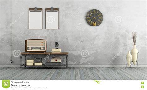 living room radio vintage living room with radio stock illustration image 73275093