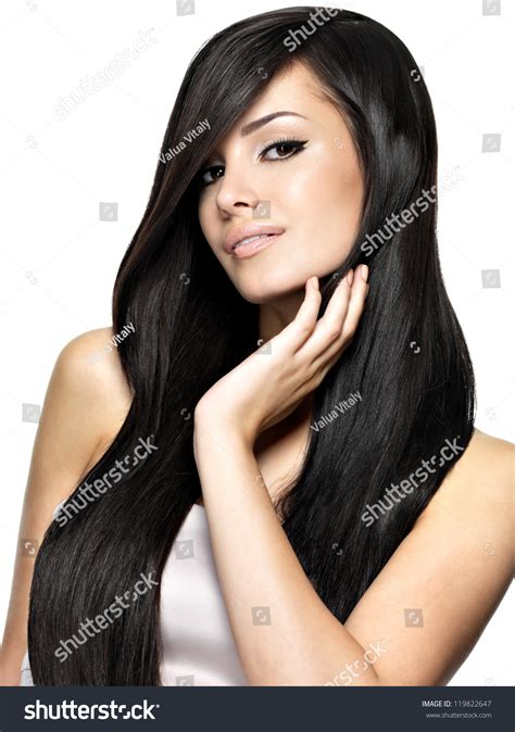 dark haired beautiful women modeling clothes beautiful woman long straight hair fashion stock photo