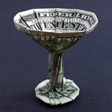 Origami Martini Glass - money origami martini glass dollar bill made with