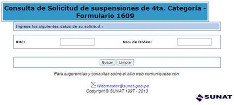 consulta de manifiestos de ingreso sunat sunat consulta tu solicitud de suspensiones formulario 1609