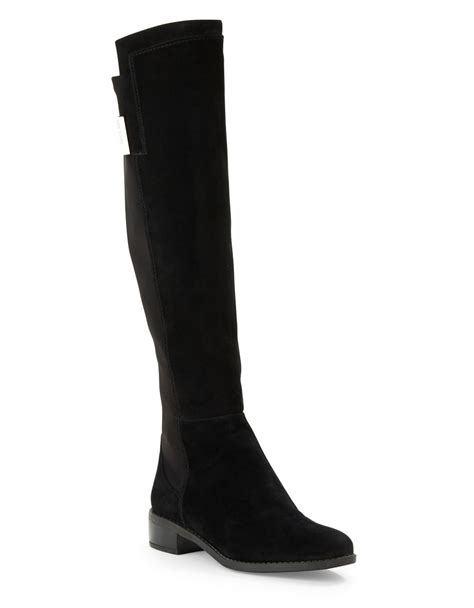 vince camuto black boots vince camuto jamirah suede the knee boots in black lyst