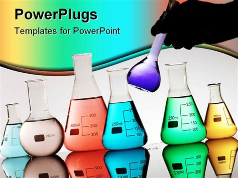 powerpoint themes laboratory gloved hand driving a flask in a chemical laboratory