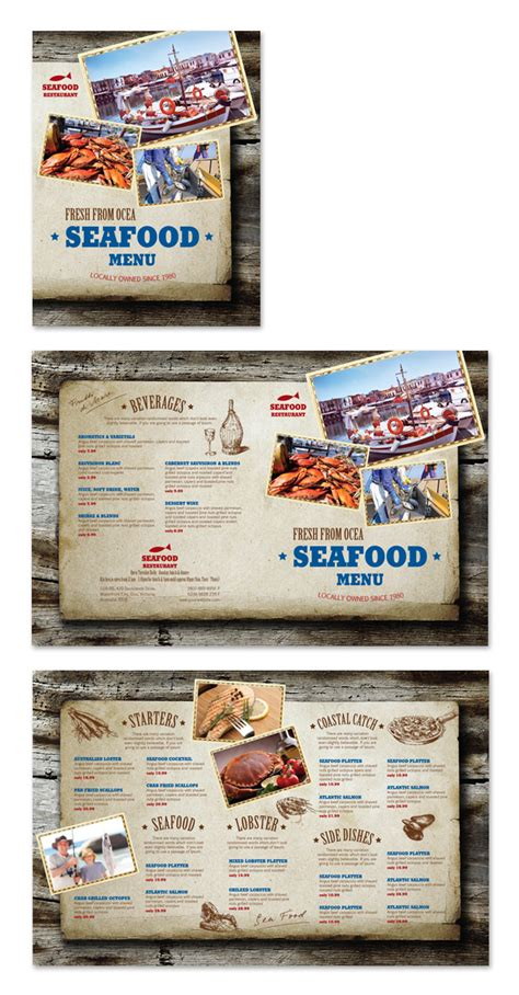 seafood menu templates seafood restaurant menu template