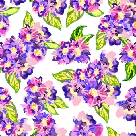 watercolor pattern with purple flowers vector free download beautiful watercolor flower pattern seamless vector free