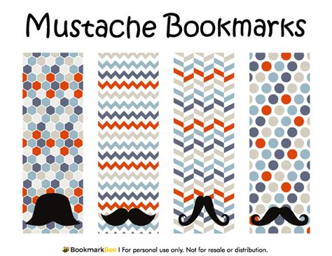 printable mustache bookmarks printable mustache bookmarks