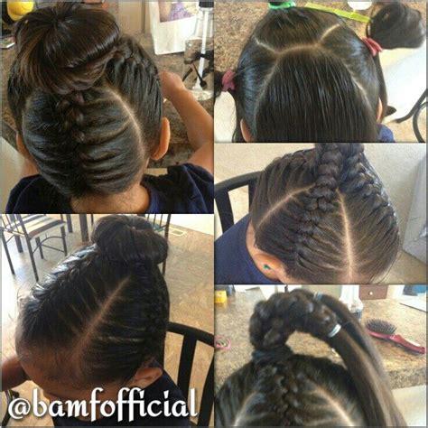 little kids hair braided into a bun jumbo braids into a bun hairstyles for little girls