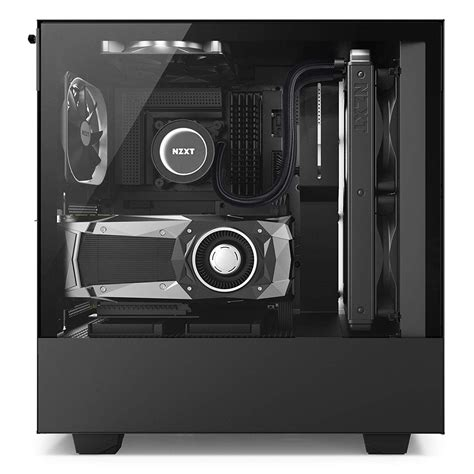 nzxt  mid tower gaming pc case atx tempered glass