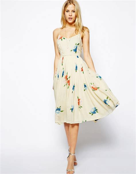 asos asos midi dress with pleated skirt in floral print