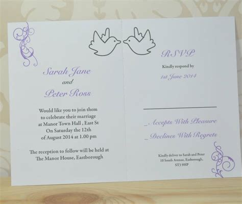 Invitation Letter With Rsvp Dove And Swirl Wedding Invitation And Rsvp By Sweet Pea Design Notonthehighstreet