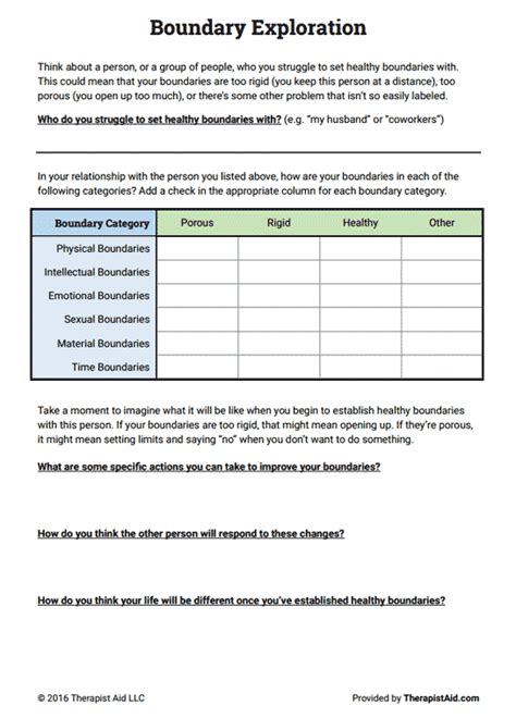 Setting Healthy Boundaries Worksheets by Boundaries Exploration Preview Groups Resources