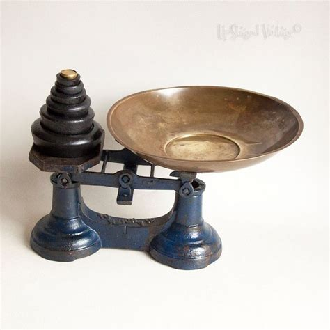 Cast Iron Kitchen Scales And Weights by Vintage Blue Cast Iron 1950s Kitchen Scales Weights