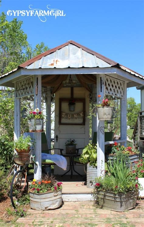 Backyard Sheds And Gazebos by Tin Roof Gazebo Gypsyfarmgirl Welcome To The Junk Yard