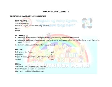 Essay Writing Contest Mechanics by Tcu Nutrition Month
