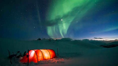 1920x1080 lapland tent winter snow polar lights merry