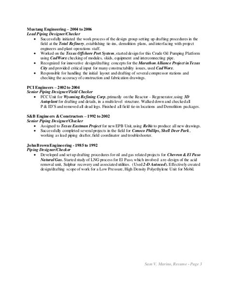 Autoplant Piping Designer Sle Resume by Marino Sam V Resume Piping Design 10 15