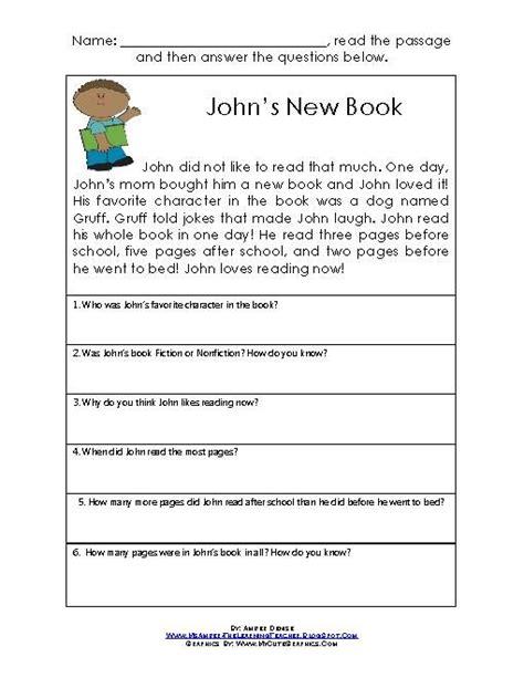 printable reading comprehension tests printables short comprehension passages for grade 4