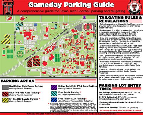 texas tech parking map club 2017 football
