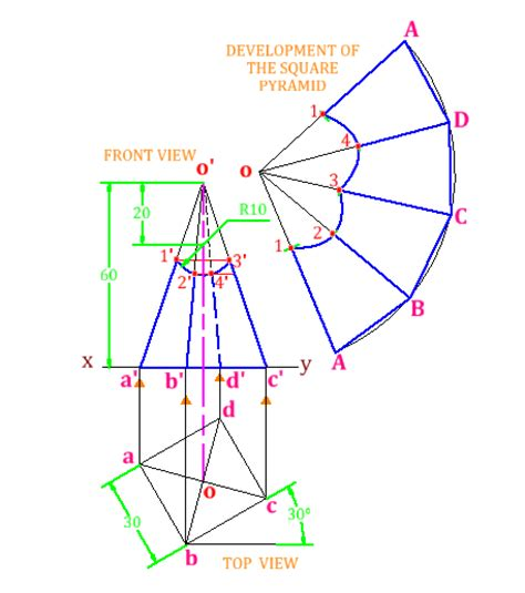 technical drawing pattern development problem 8 2 development of surfaces of solids