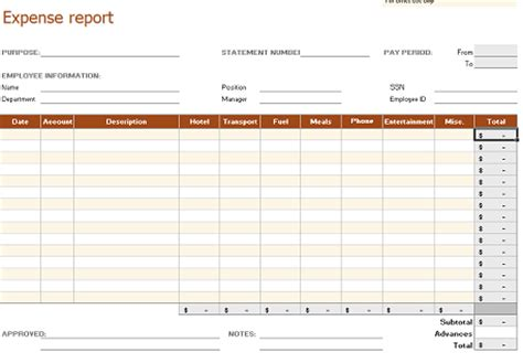 business expense report template free 5 best images of free printable business expense forms