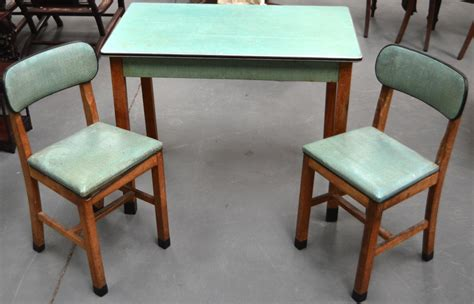 restored vintage gray inlaid formica dinette table w