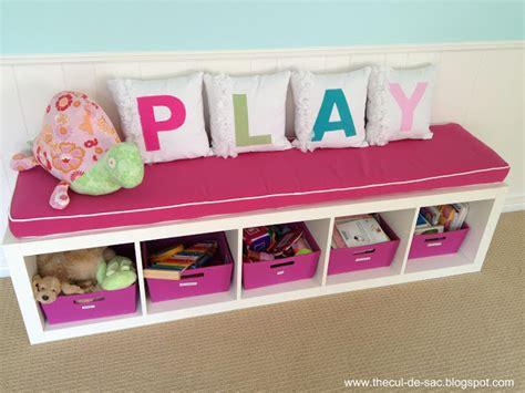 playroom storage bench the cul de sac playroom in progress