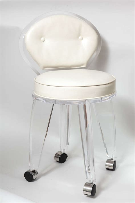 lucite upholstered rolling swivel vanity chair  stdibs