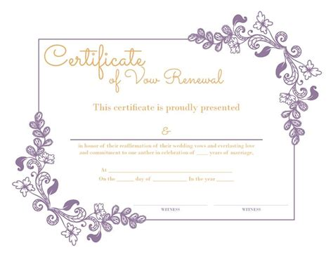 Wedding Vows Border by Free Printable Purple Floral Certificate Of Vow Renewal