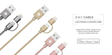 Power Trend 2 In 1 Lightning To Micro Usb Cables Gold 2 in 1 lightning to micro usb cables