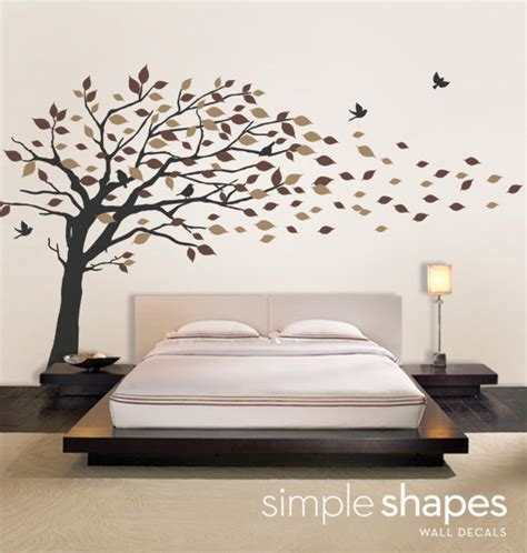 Large Wall Art Stickers vinyl wall art decal sticker blowing leaves tree large