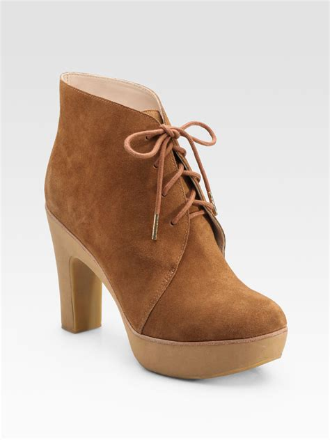 kors by michael kors divina suede laceup ankle boots in