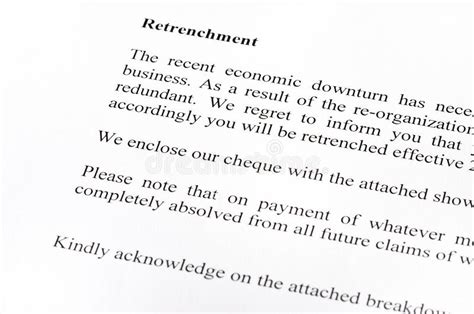 retrenchment letter template retrenchment letter stock image image of retrenchment