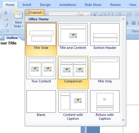 how to design layout in powerpoint 2007 apply a layout to an existing slide slide operations