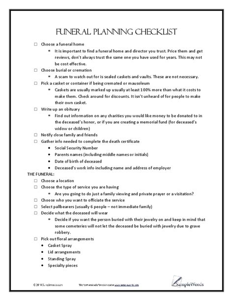 Funeral Planning Worksheet by Funeral Planning Checklist 1 Png