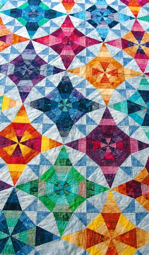 batik patchwork pattern kaleidoscope quilt with batiks two blocks quilting