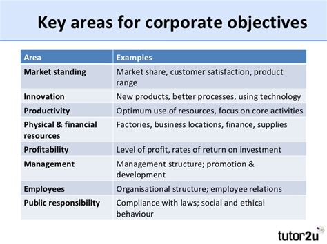 templates for business objectives introduction to corporate and functional objectives