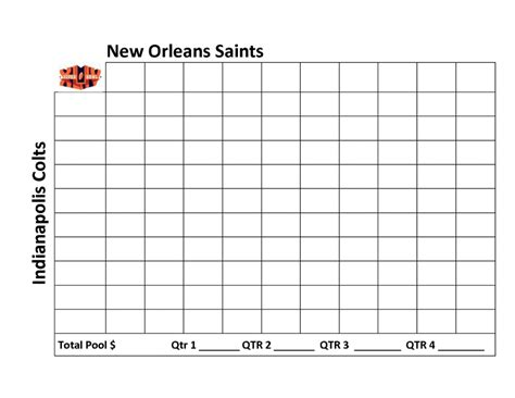 Free Football Square Template by Printable Superbowl Squares 2015 Autos Post