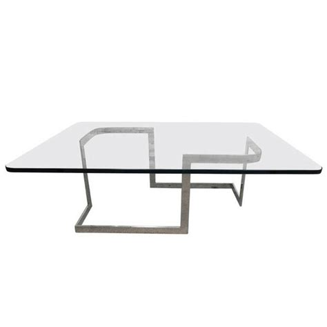 mid century metal and glass geometric coffee table for