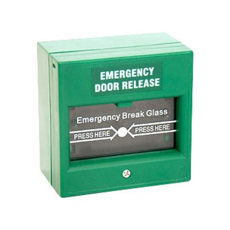 Break Glass Door Release Green Single Pole Security Glass Door Release