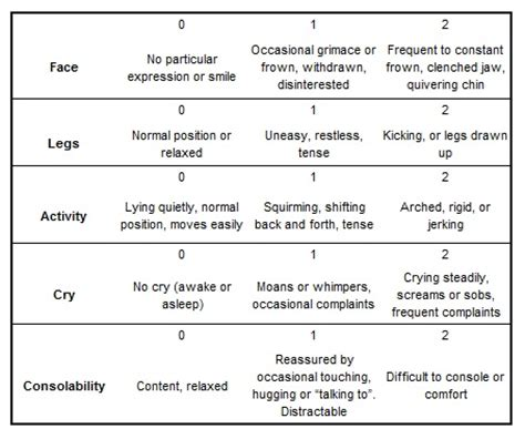 comfort scale clinical guidelines nursing pain assessment and