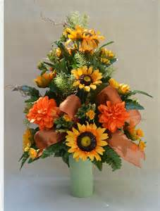 Memorial Vase For Graves No 5056 Sun Flower Fall Cemetery Arrangement Autumn Cone