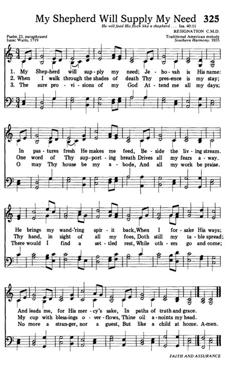 in his presence there is comfort lyrics hymns for the living church 325 my shepherd will supply