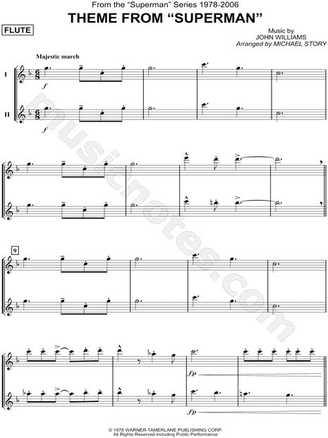 theme song superman quot theme from superman flute duet quot from superman sheet