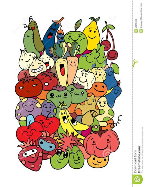 doodle fruit happy with fresh fruits and vegetables stock vector