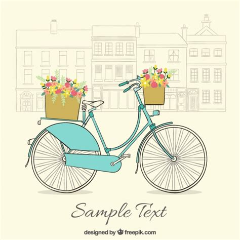 imagenes lindas retro fondo vintage de bicicleta dibujada a mano con bonitas