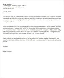 Exle Of Cover Letter For Assistant by Personal Assistant Cover Letter 6 Exles In Word Pdf