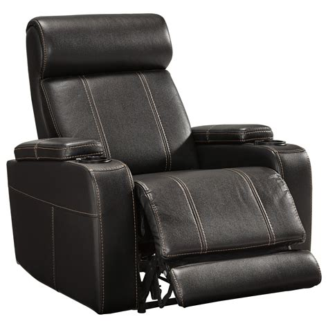 faux leather power recliner  cup holders storage cup holders led lighting  signature