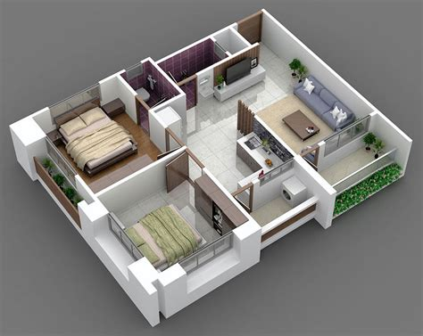 home design 3d 3 bhk 3d floor plan 2bhk