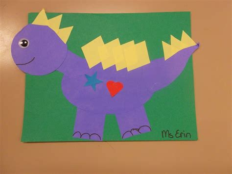 dinosaur craft projects shapeasaurus dinosaur craft made out of shapes we read