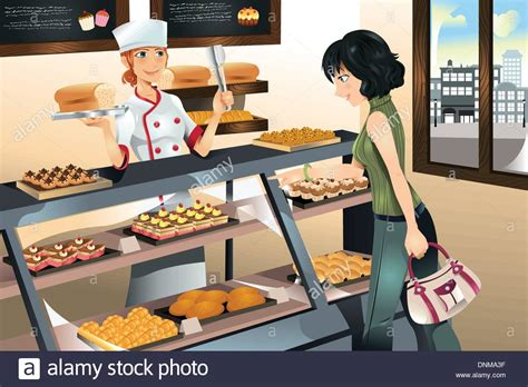 buy cake a vector illustration of a buying cake at a bakery